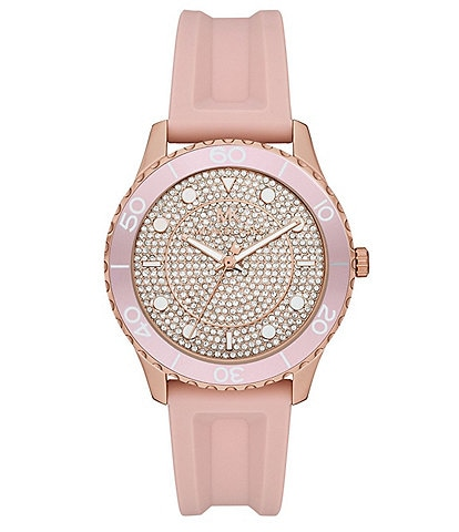 Michael Kors Runway Three-Hand Blush Silicone Watch