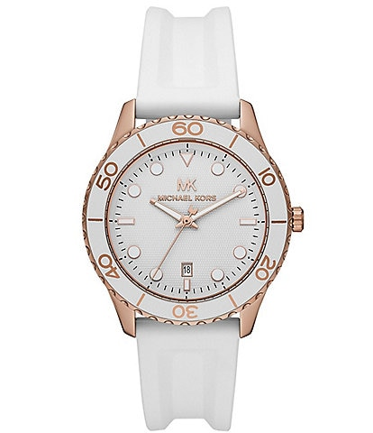 Michael Kors Runway Three-Hand White Silicone Watch
