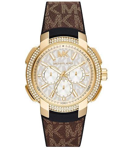 Michael Kors Sidney Multifunction Brown PVC Leather Watch