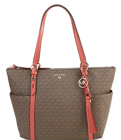 Michael Kors Signature Nomad Large Top Zip Tote Bag