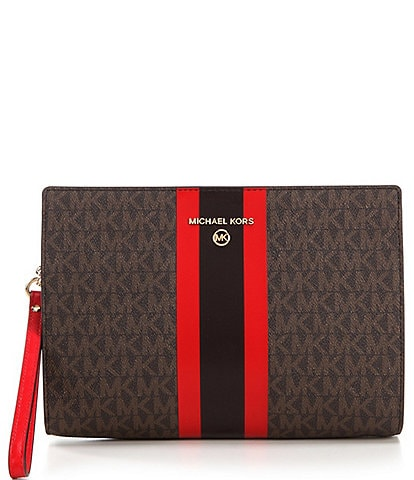Michael Kors Signature Stripe Medium Travel Wristlet Pouch