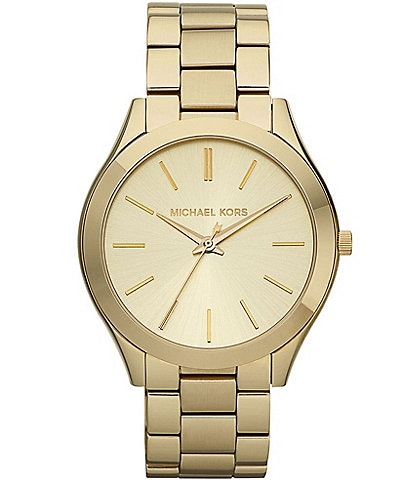 ec3af9bceb5b Michael Kors Slim Runway Goldtone Stainless Steel 3 Hand Bracelet Watch