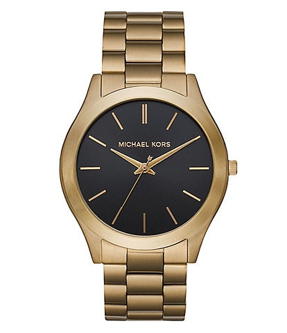 Michael Kors Slim Runway Three-Hand Antique Gold-Tone Watch