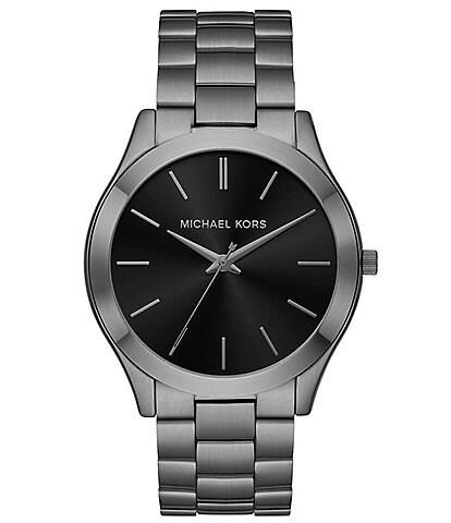 Michael Kors Slim Runway Three-Hand Gunmetal Stainless Steel Watch and Wallet Gift Set