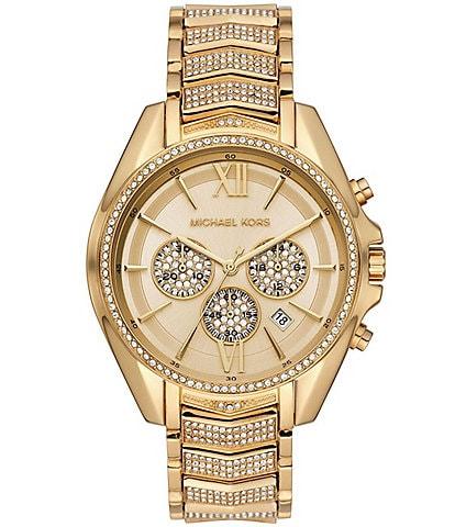 Michael Kors Whitney Gold Tone Pave Glitz Chronograph Bracelet Watch
