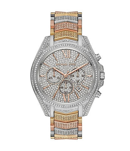 Michael Kors Whitney Pave Tri Tone Stainless Steel Chronograph Watch