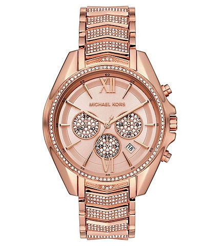 Michael Kors Whitney Rose Gold Glitz Chronograph Bracelet Watch
