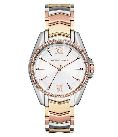 Michael Kors Whitney Three-Hand Tri Tone Stainless Steel Bracelet Watch