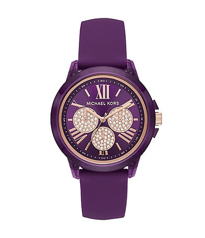 Michael Kors Women's Bradshaw Multifunction Purple Silicone Watch