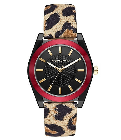 Michael Kors Women's Channing Three-Hand Cheetah Print Leather Watch