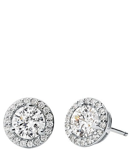 Michael Kors Custom Kors Collection Sterling Silver Pave Halo Stud Earrings