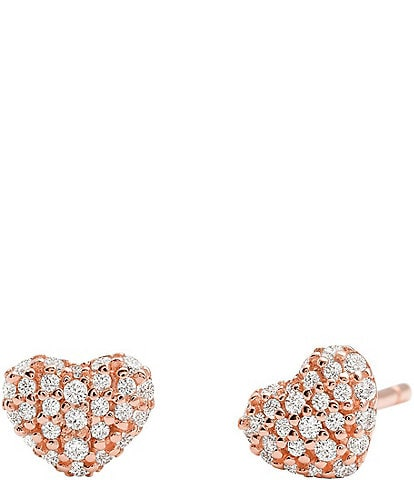 Michael Kors Kors Love Collection Sterling Silver Pave Heart Stud Earrings
