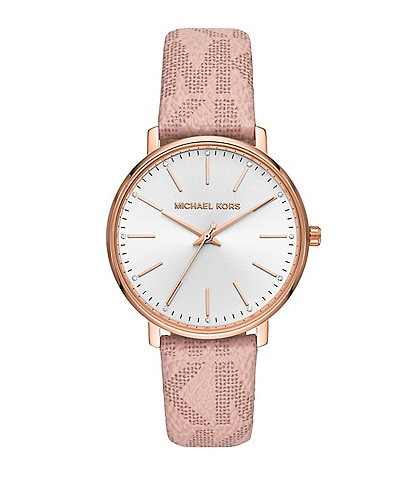 Michael Kors Women's Pyper Three-Hand Blush PVC Logo Strap Watch
