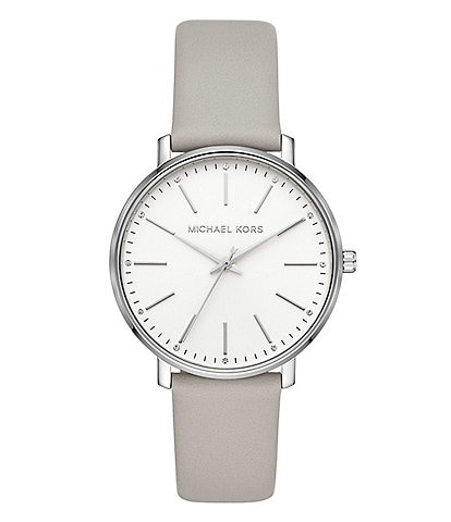 Michael Kors Women's Pyper Three-Hand Gray Leather Watch