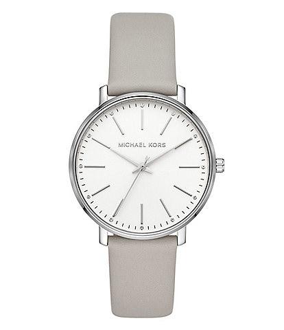 Michael Kors Women's Pyper Three-Hand Gray Leather Watch