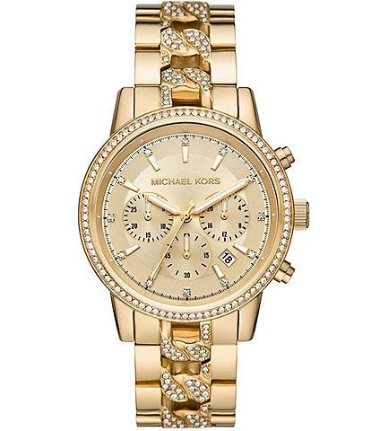 Michael Kors Women's Ritz Chronograph Gold-Tone Stainless Steel Watch