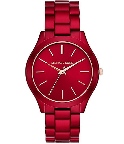 Michael Kors Women's Slim Runway Three-Hand Red-Coated Stainless Steel Watch