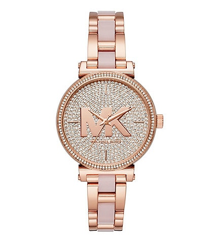 b67fef5401a7 Michael Kors Women s Sofie Three-Hand Rose Gold-Tone Rhinestone Accent  Stainless Steel Watch