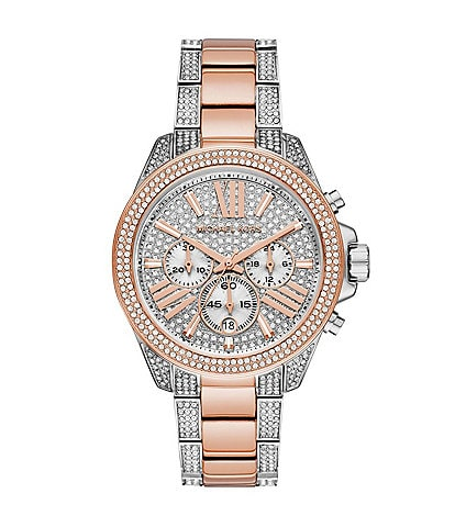 Michael Kors Women's Wren Chronograph Two-Tone Pave Embellished Stainless Steel Watch