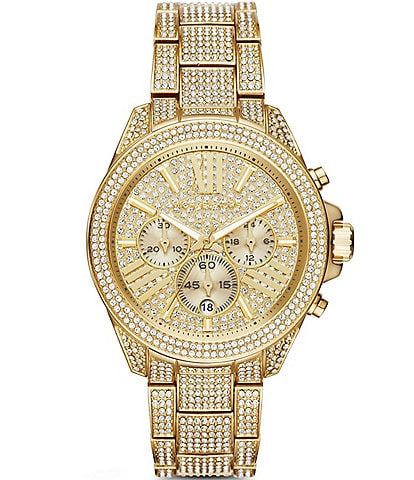 Michael Kors Wren Pav Gold-Tone Stainless Steel Chronograph Bracelet Watch