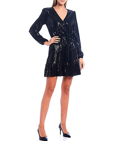 MICHAEL Michael Kors Allover Mirror Dot Sequin Textured Jersey V-Neck Tie Waist Flounce Hem Dress