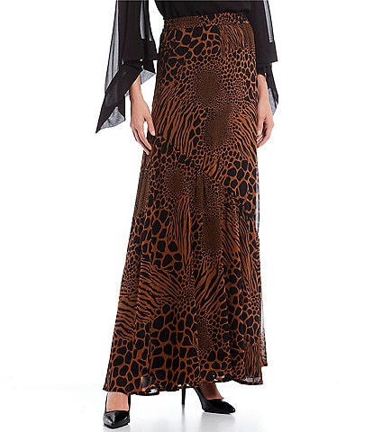 MICHAEL Michael Kors Animal Patchwork Print Georgette Ruffle Maxi Skirt