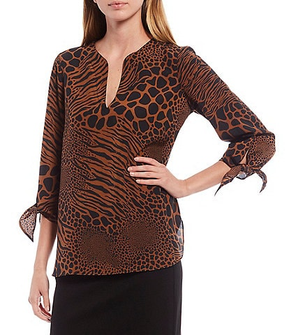 MICHAEL Michael Kors Animal Patchwork Print Pebble Crepe Tie-Cuff 3/4 Sleeve Hi-Low Top