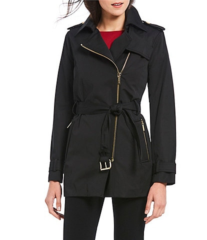 7ca195f6dba MICHAEL Michael Kors Asymmetrical Zip-Front Belted Trench Coat