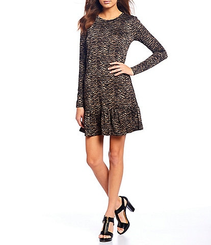 MICHAEL Michael Kors Bengal Tiger Print Jacquard Layered Long Sleeve Flounce Hem Dress