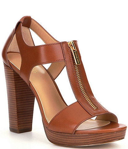 MICHAEL Michael Kors Berkley Leather Zip-Up Block Heel Sandals