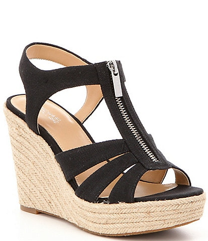 10bf9729176 MICHAEL Michael Kors Berkley Weave Canvas Espadrille Wedges