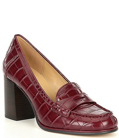 MICHAEL Michael Kors Buchanan Croco Embossed Leather Mid Loafer Pumps