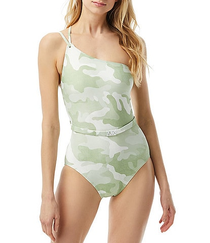 MICHAEL Michael Kors Camo Belted One Shoulder One Piece Swimsuit