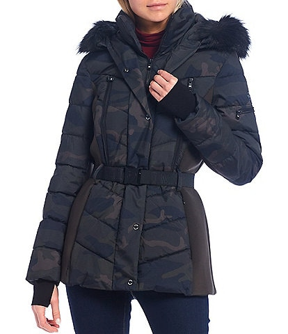 MICHAEL Michael Kors Camo Print Belted Puffer Coat with Faux Fur Lined Hood