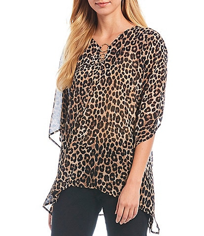 MICHAEL Michael Kors Cheetah Print Georgette Ring Embellished V-Neck Flutter Sleeve Top