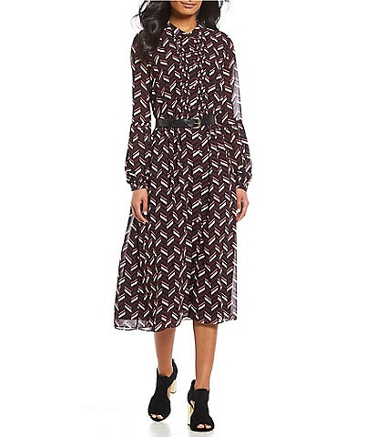 MICHAEL Michael Kors Chic Chevron Print Balloon Sleeve Belted Button Front Midi Length Shirt Dress