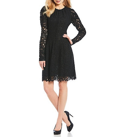 MICHAEL Michael Kors Corded Floral Lace Pleat Detail A-Line Dress