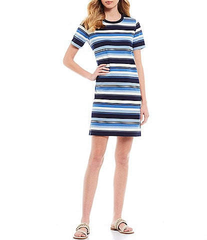 MICHAEL Michael Kors Court Stripe Knit Jersey Short Sleeve Tee Dress