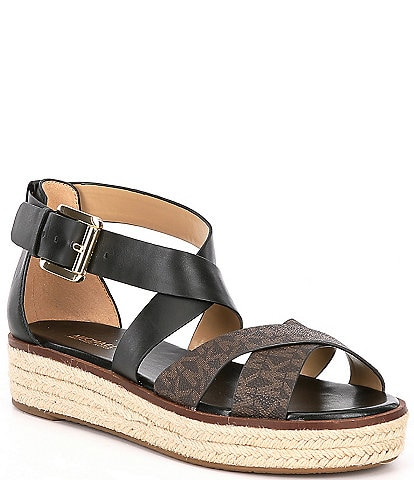 MICHAEL Michael Kors Darby Signature Coated Printed Canvas Sandals