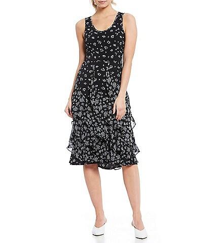 MICHAEL Michael Kors Ditsy Daisy Floral Print Scoop Neck Cascading Ruffle Trim Sleeveless Midi Dress