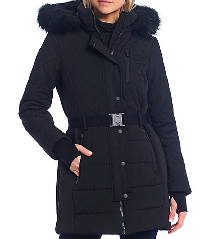 MICHAEL Michael Kors Faux Fur Hooded Belted Water Resistant Puffer Coat