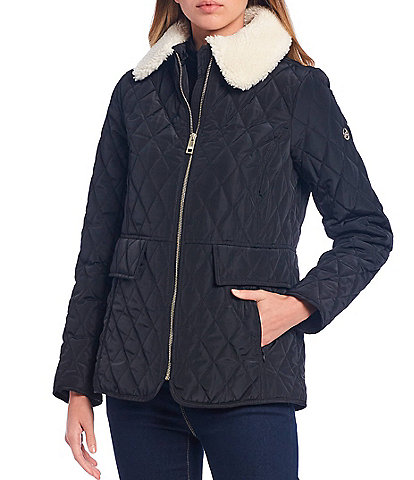 MICHAEL Michael Kors Faux Sherpa Collar Diamond Quilted Puffer Coat