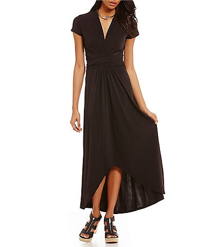 b68cdb6bef32 MICHAEL Michael Kors Faux-Wrap Style Matte Jersey Hi-Low Maxi Dress
