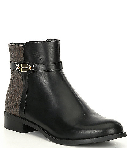 MICHAEL Michael Kors Finley Logo Side Zip Block Heel Booties