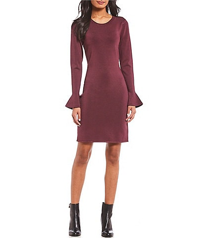 MICHAEL Michael Kors Trumpet Sleeve Knit Sheath Dress