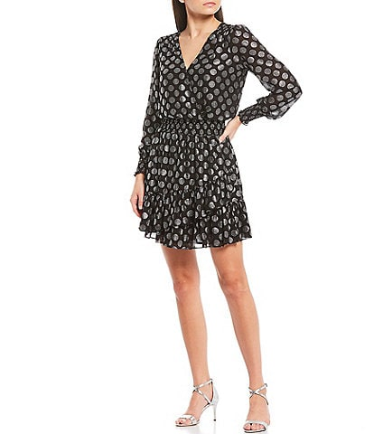 MICHAEL Michael Kors Foil Optic Spot Print Smocked Waist Georgette Flounce Hem Faux Wrap Dress