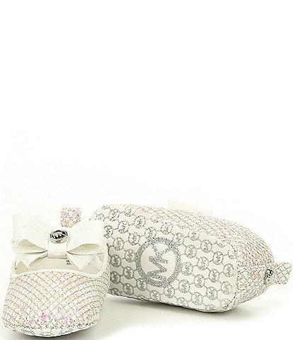 MICHAEL Michael Kors Girls' Baby Day Crib Shoe Glitter Mesh Ballerina Flats