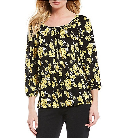 MICHAEL Michael Kors Glam Painterly Floral Scoop Neck 3/4 Sleeve Print Jersey Peasant Top