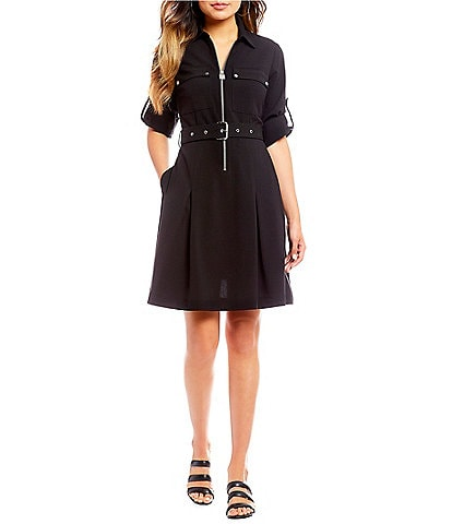 MICHAEL Michael Kors Half-Zip Belted A-Line Shirtdress