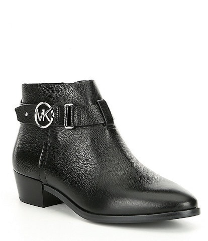 MICHAEL Michael Kors Harland Leather Block Heel Booties